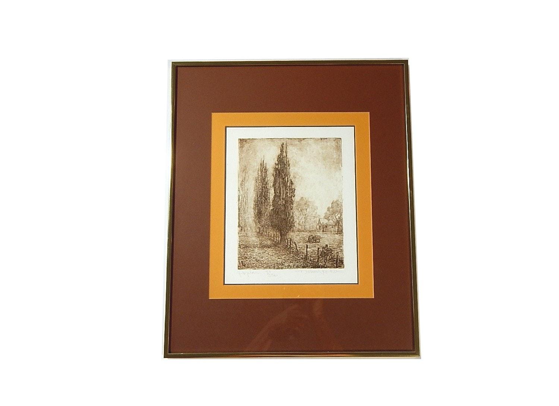"Michael Kohler Limited Edition Etching ""Poplars"""