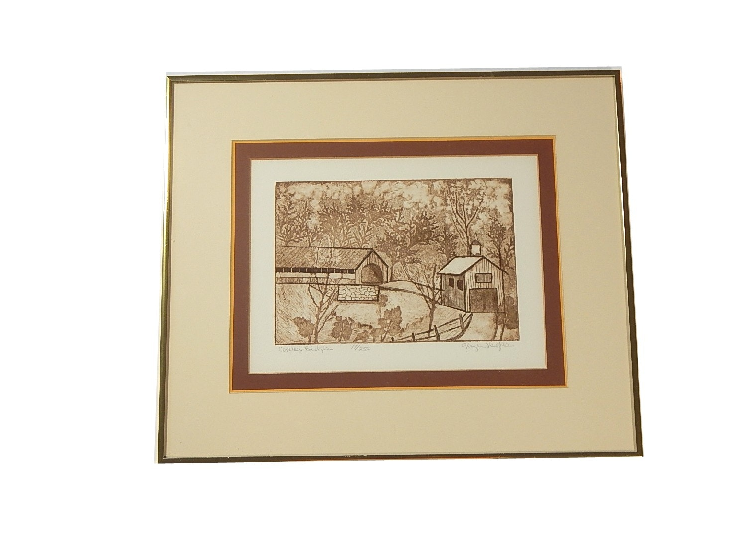 """Ginger Hughes Limited Edition Dry Point Etching """"Covered Bridges"""""""
