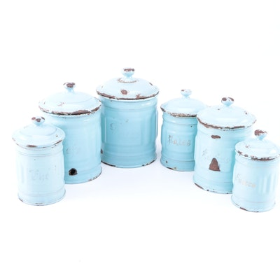 Vintage Luc & Cie Depose French Enameled Metal Canisters