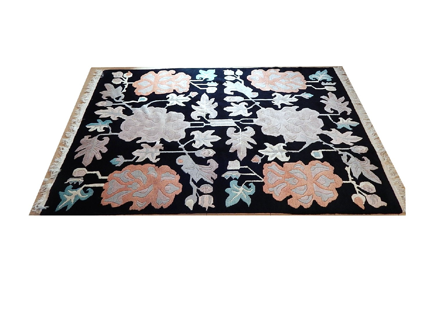 Black Sculpted Floral Wool Area Rug