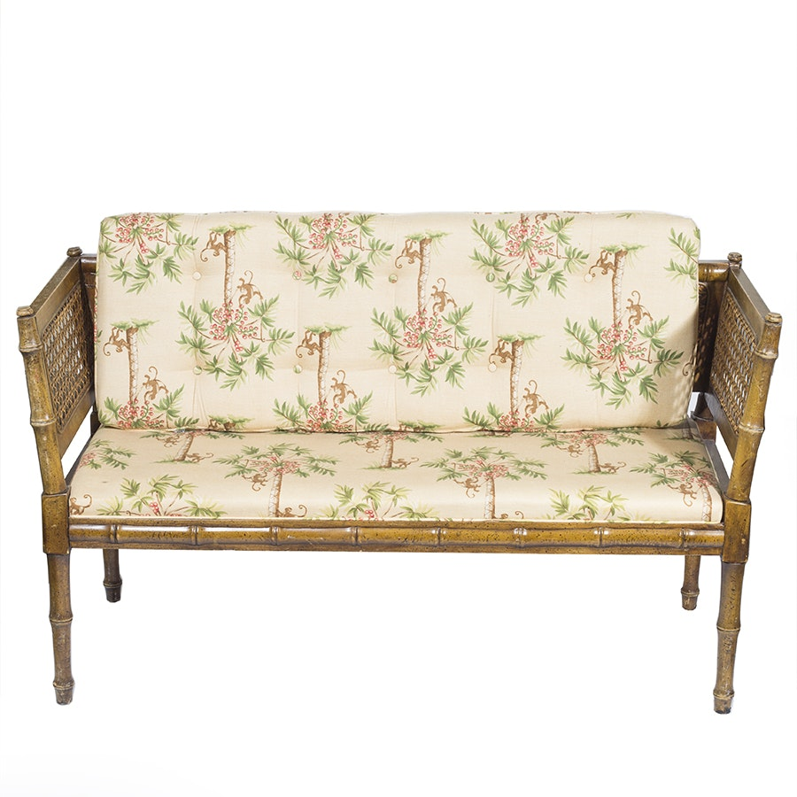 Tropical Style Cane Back Settee