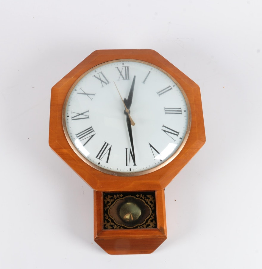 Wooden pendulum wall clock ebth wooden pendulum wall clock amipublicfo Choice Image