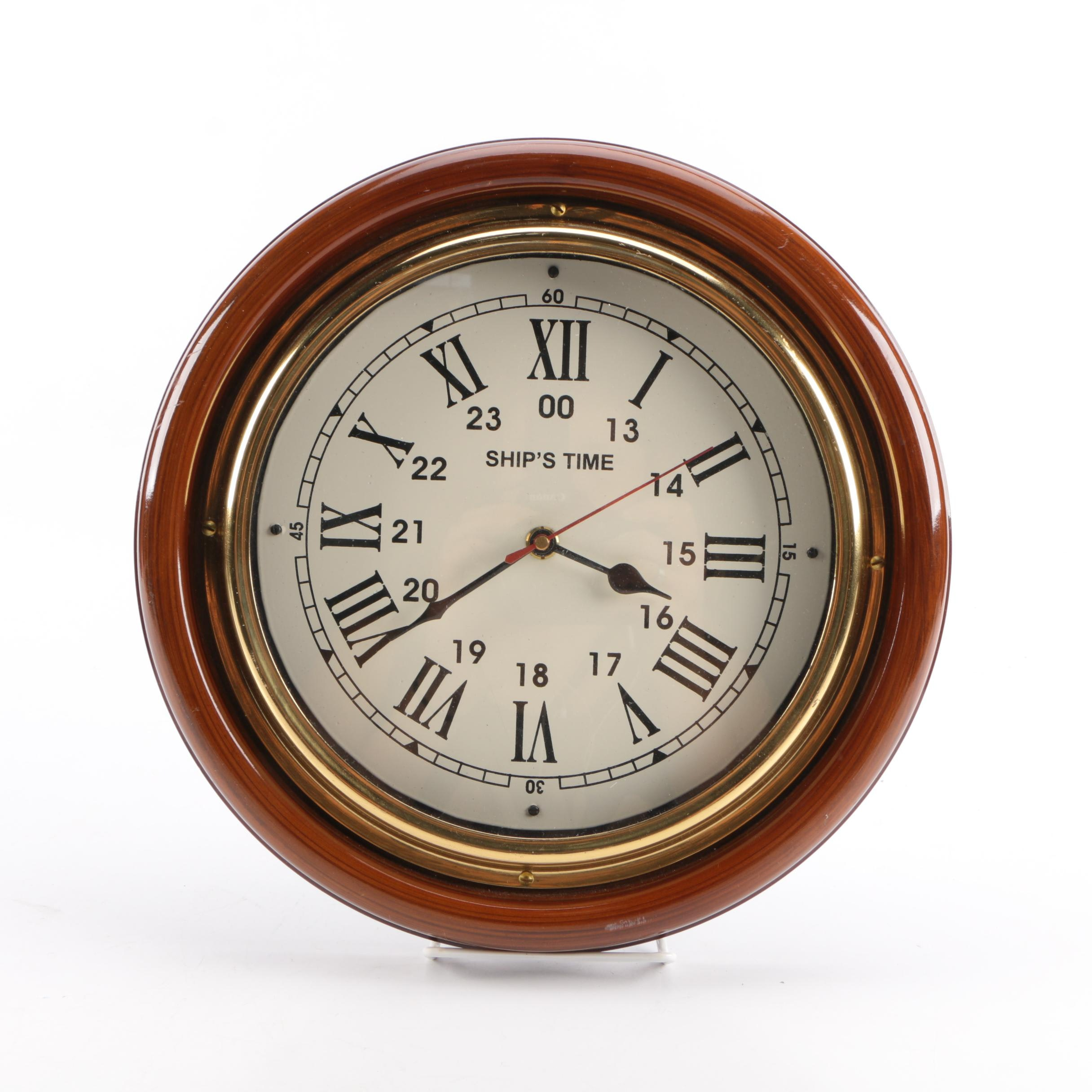 "Wood Tone ""ship's Time"" Porthole Clock"