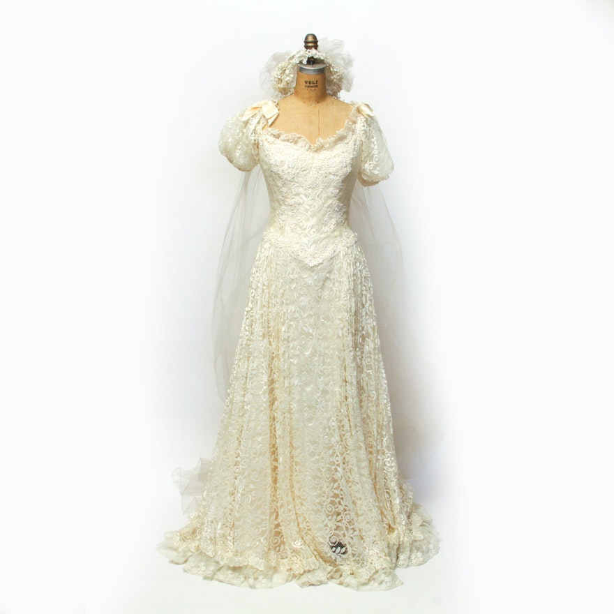 Vintage House of Bianchi Wedding Dress and Veil : EBTH