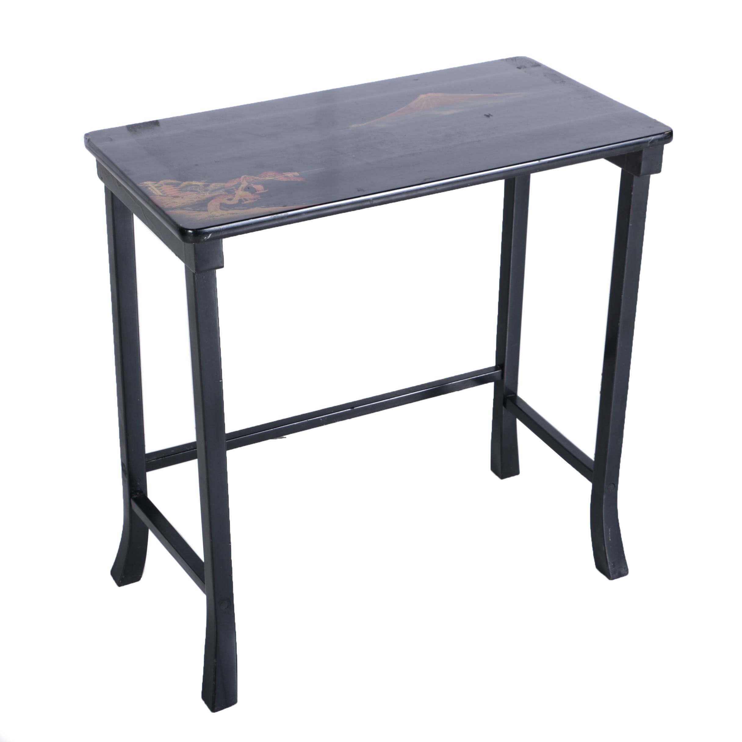 Black Chinoiserire Side Table