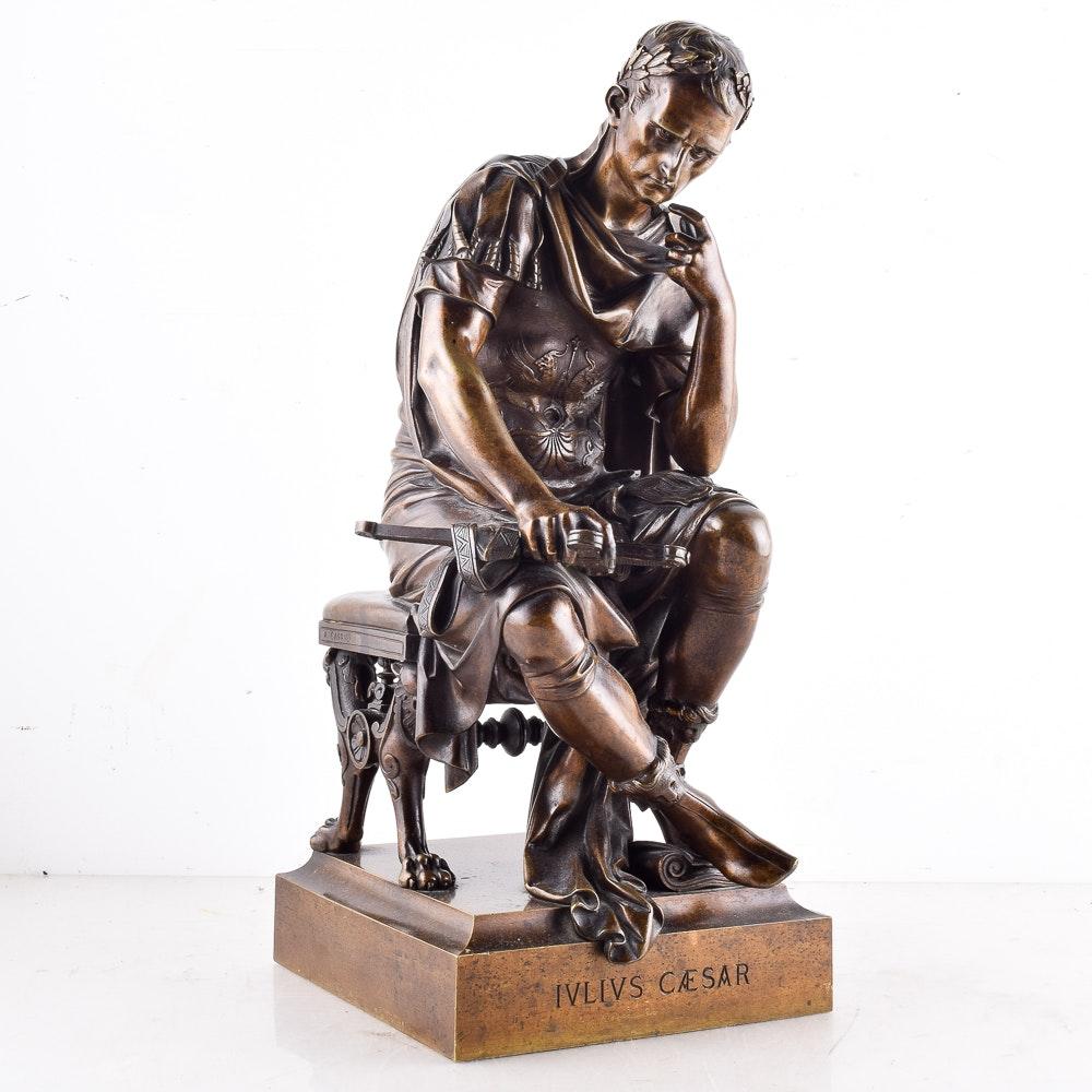 "Bronze Figure After Albert Ernest Carrier Belleuse's ""Julius Caesar"""