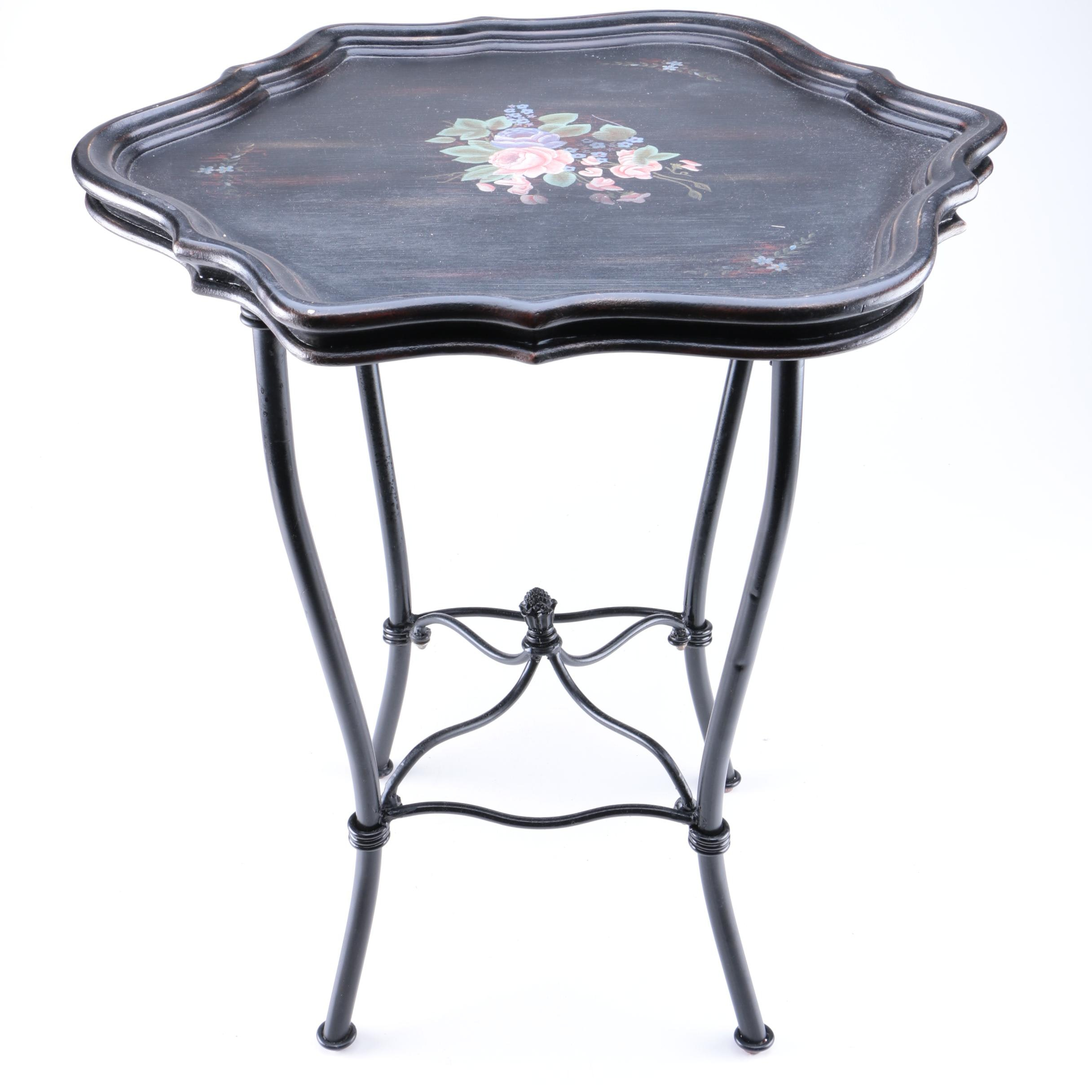 "Wooden Hand Painted Tray Table from ""Treasures by Kincaid"""