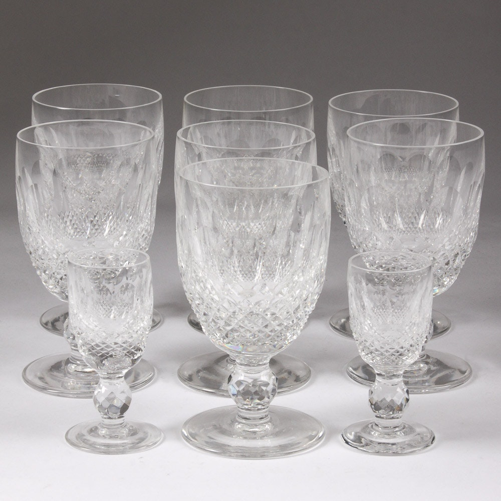 Set of Waterford Stemmed Crystal Goblets and Glasses