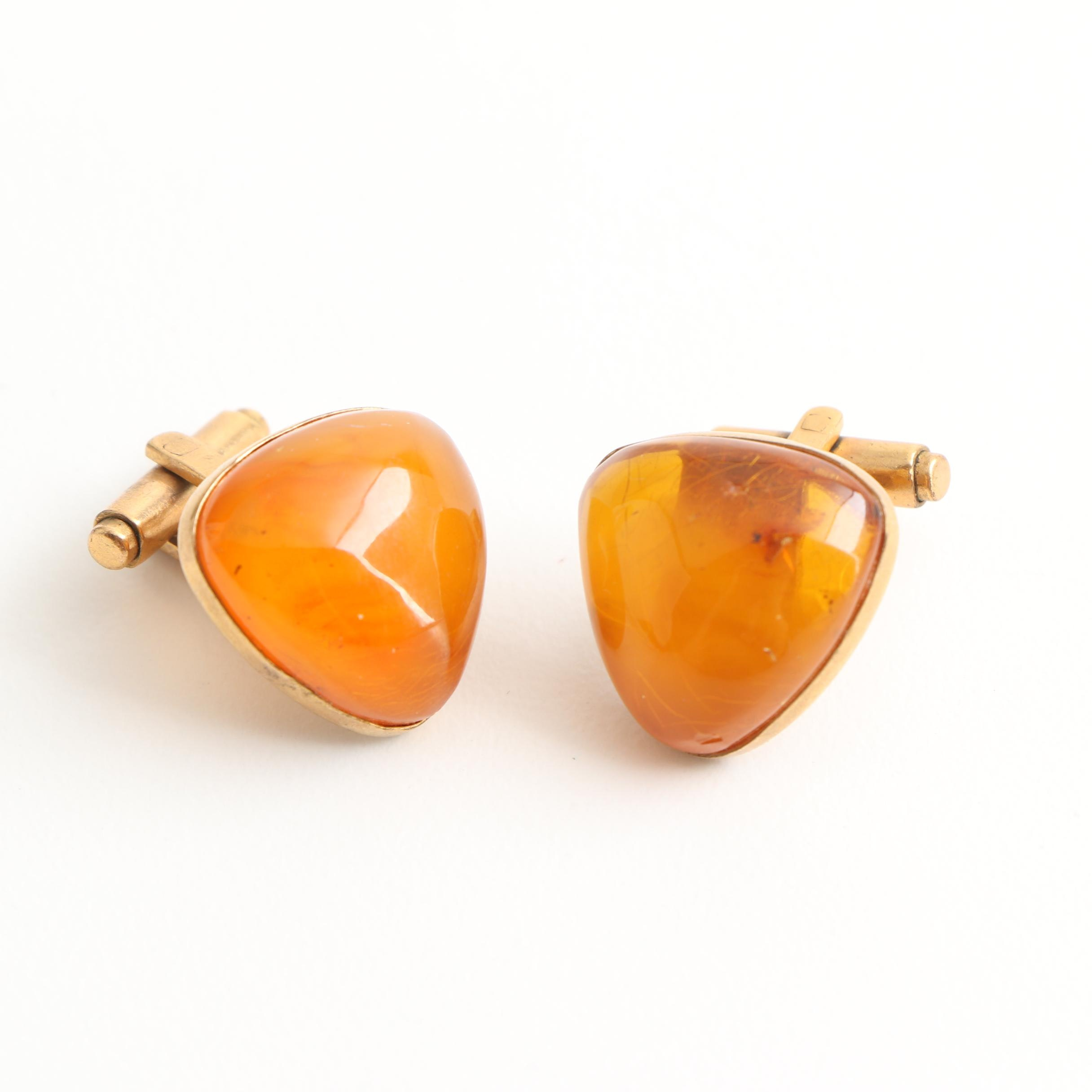 Gold Filled Amber Cufflinks