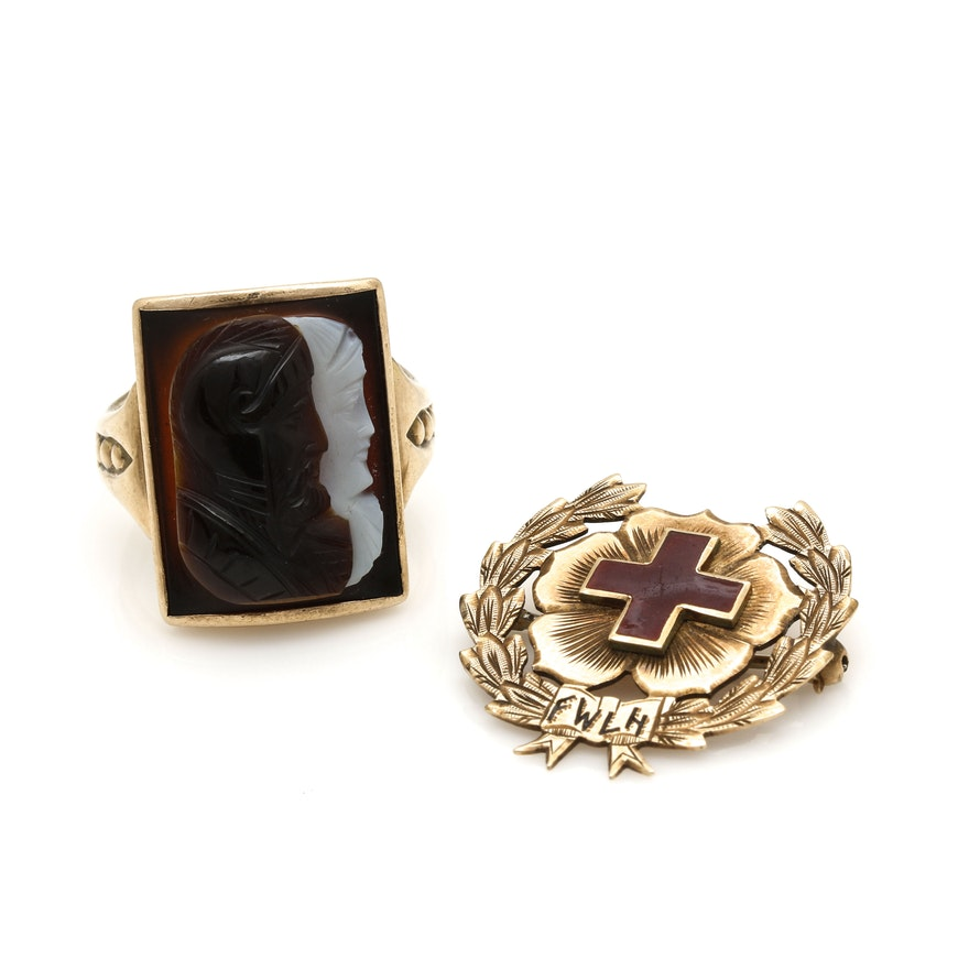 Victorian 10k Yellow Gold Onyx Double Commesso Ring With Red Cross