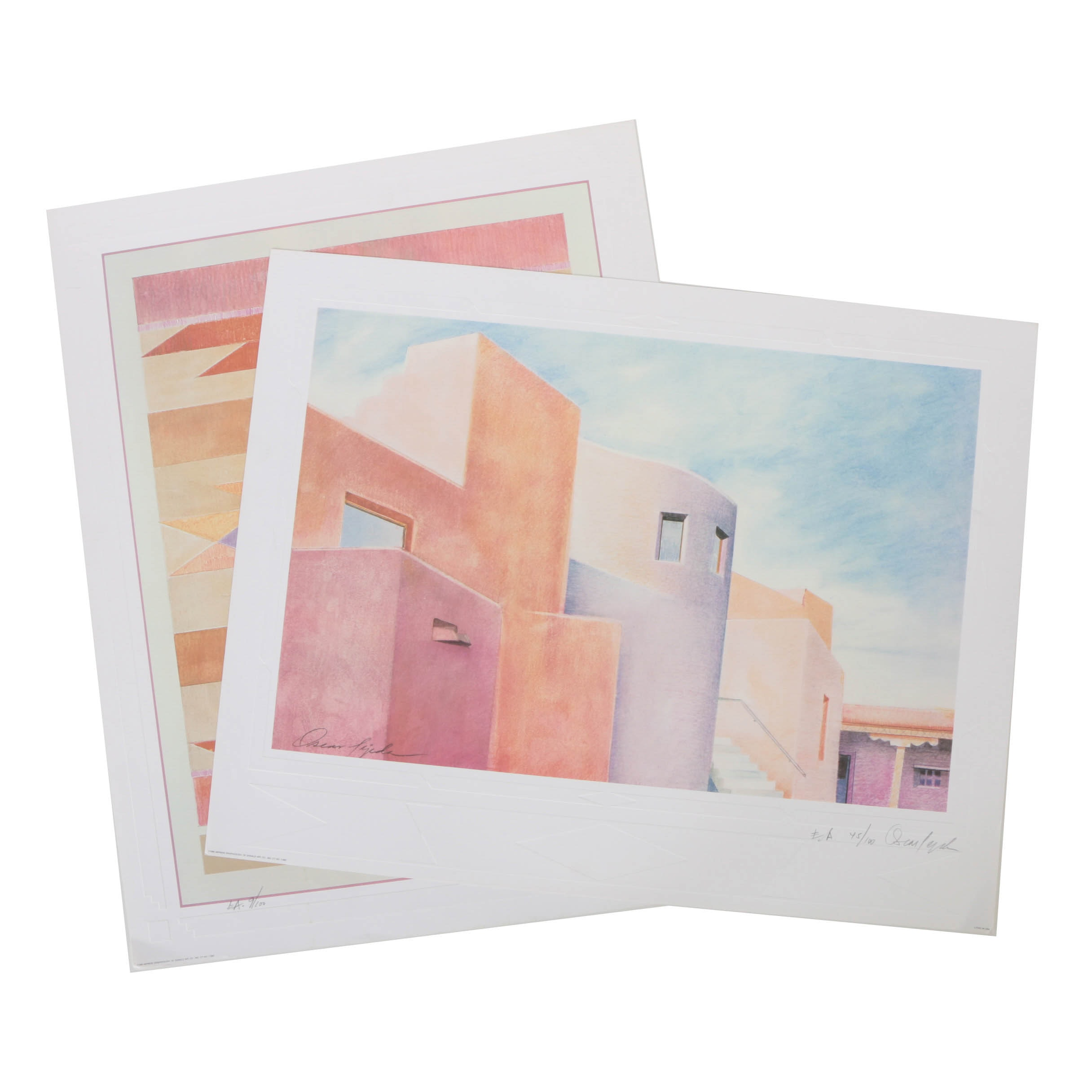 Oscar Tejeda 1988 Limited Edition Artist's Proof Offset Lithograph Prints