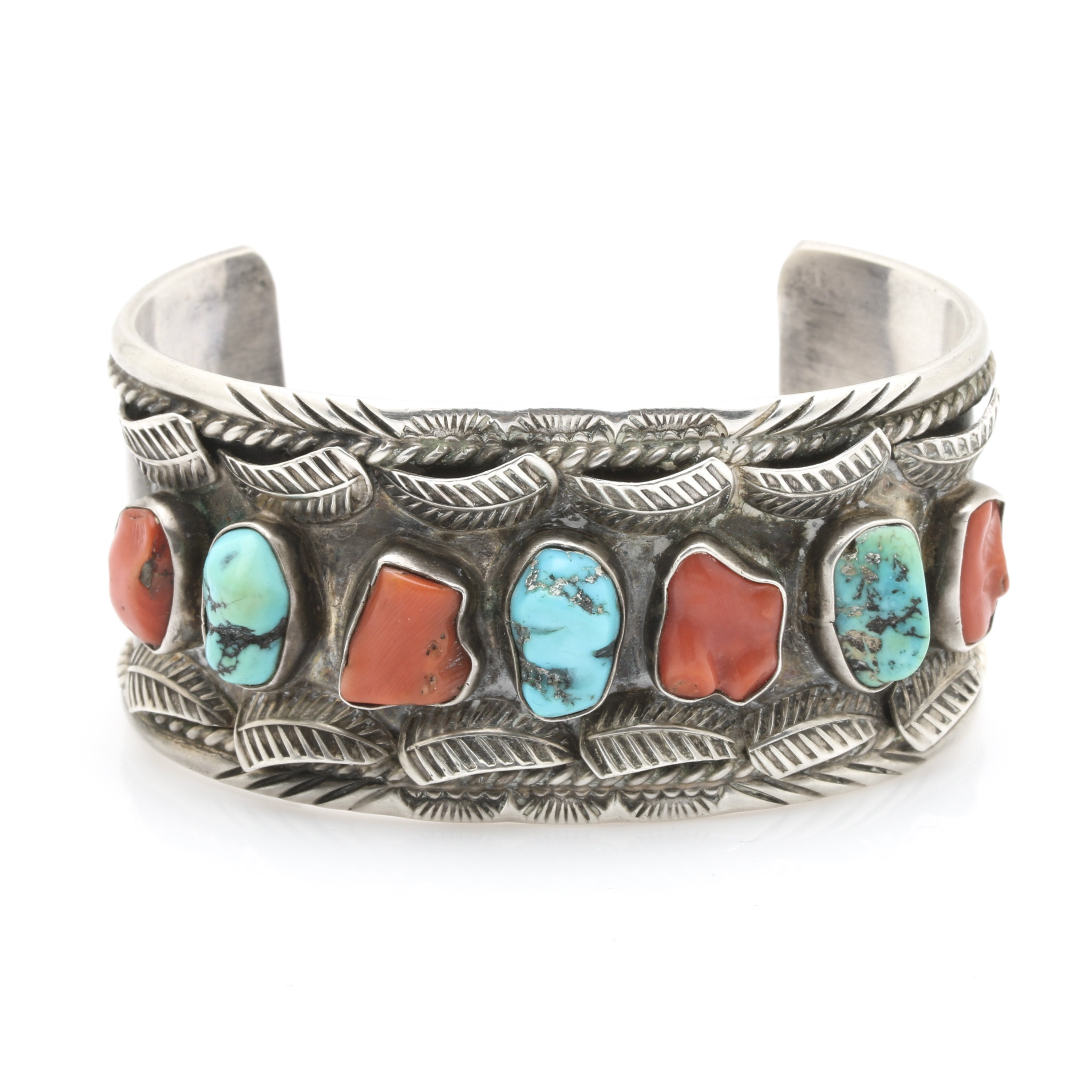 Jerry Roan Navajo Diné Sterling Silver Appliqué Coral and Turquoise Cuff