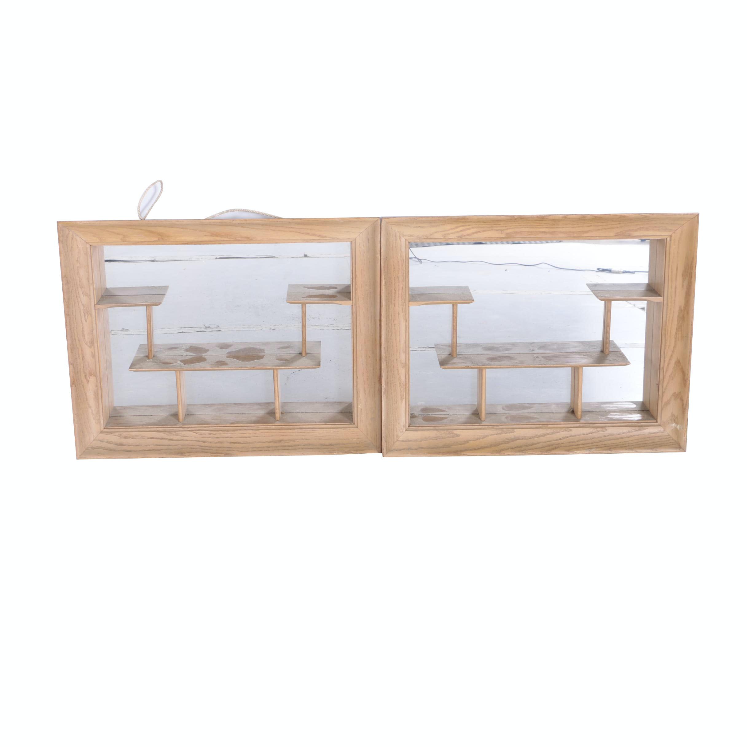 Pair Light Tone Oak Shelf Display Wall Mirrors