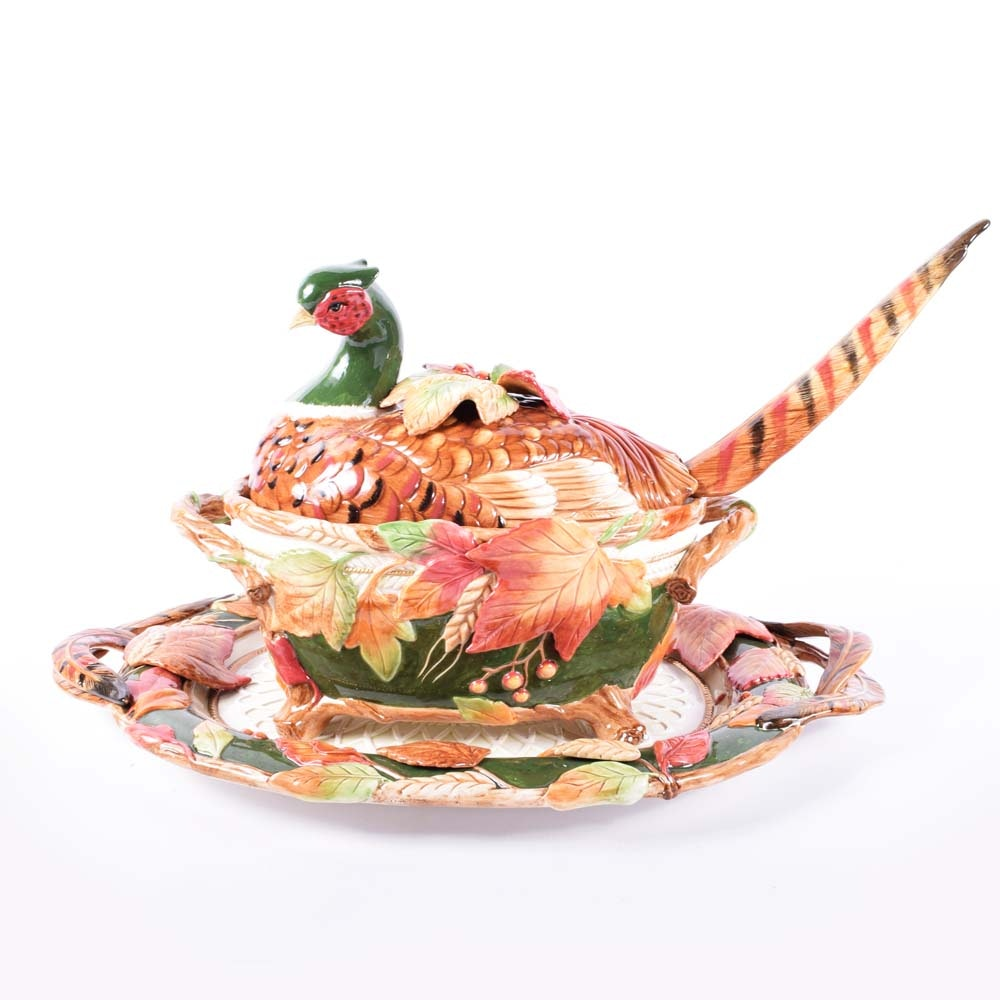 """Fitz and Floyd """"Huntington"""" Tureen and Platter"""