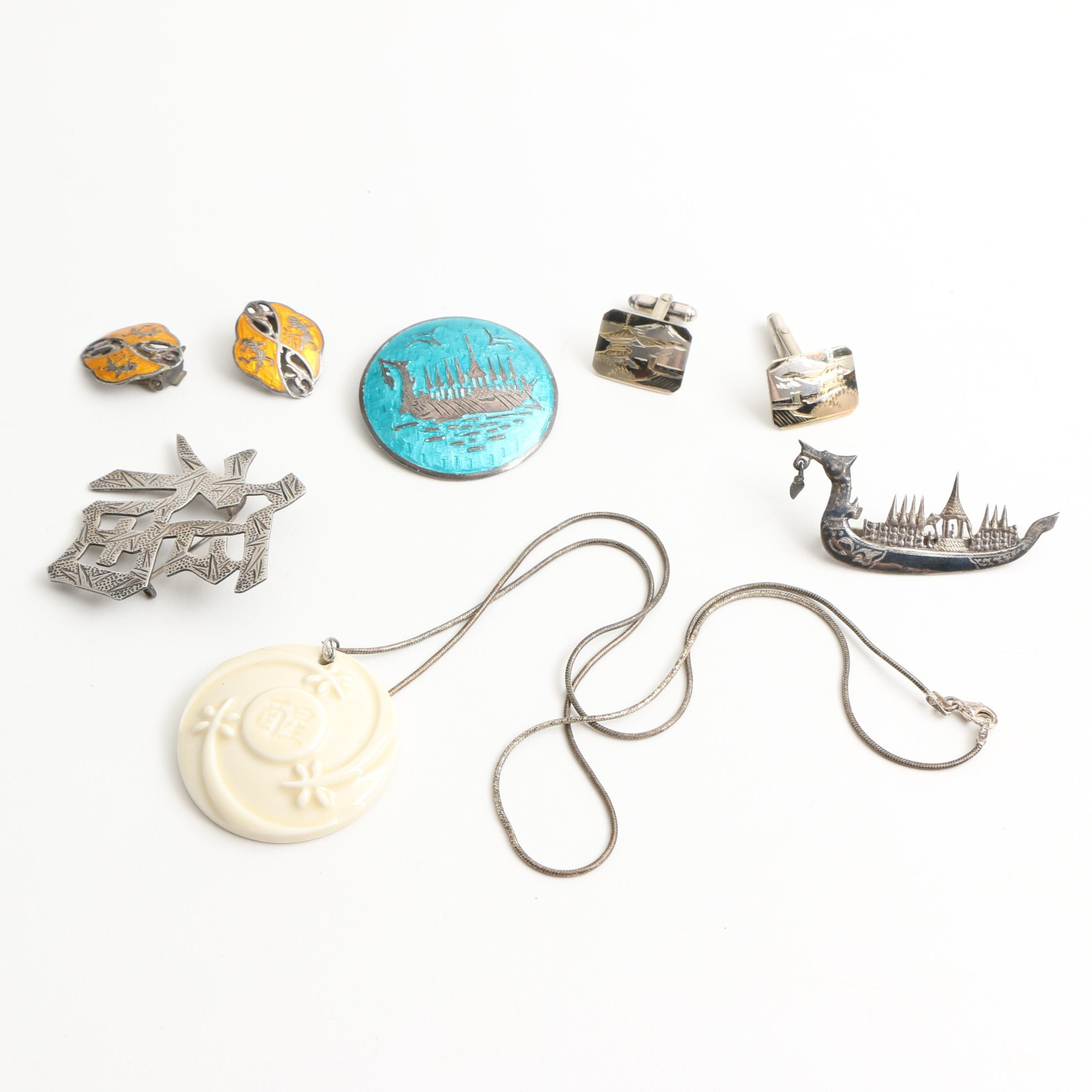 Selection of Asian Inspired Sterling Silver Jewelry Featuring Siam