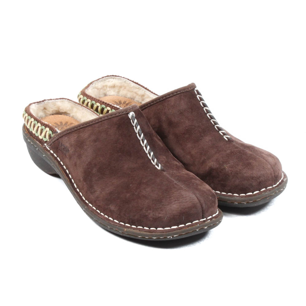 Ugg Australia Shearling Lined Suede Clogs ...