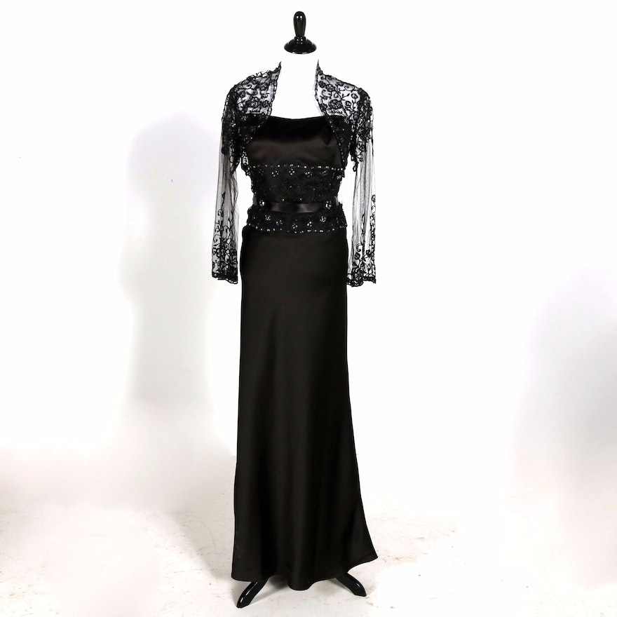 Forever Yours Black Strapless Formal Dress And Lace Jacket Ebth