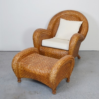 Pottery Barn Woven Rattan Chair And Ottoman Ebth