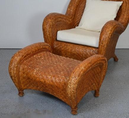 Pottery Barn Woven Rattan Chair And Ottoman Ebth