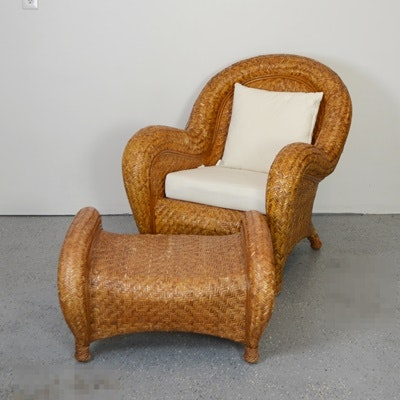 Delicieux Pottery Barn Woven Rattan Chair And Ottoman ...