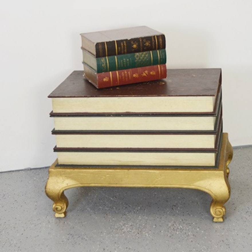 Book Shaped End Table And Small Book Chest Ebth
