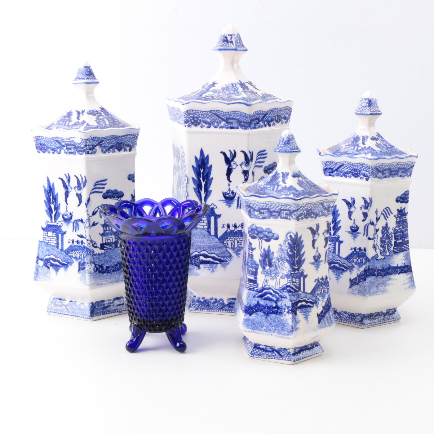 Blue Willow Transferware Ceramic Canisters And Cobalt Blue Glass Vase Ebth