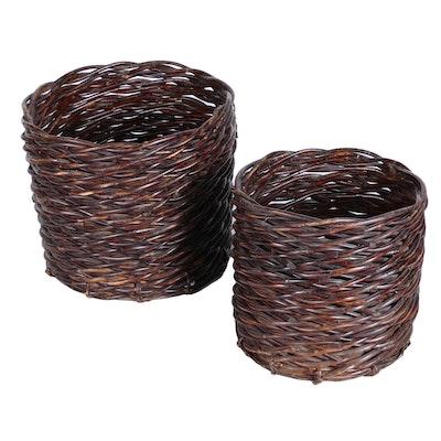 Two Nesting Wicker Baskets