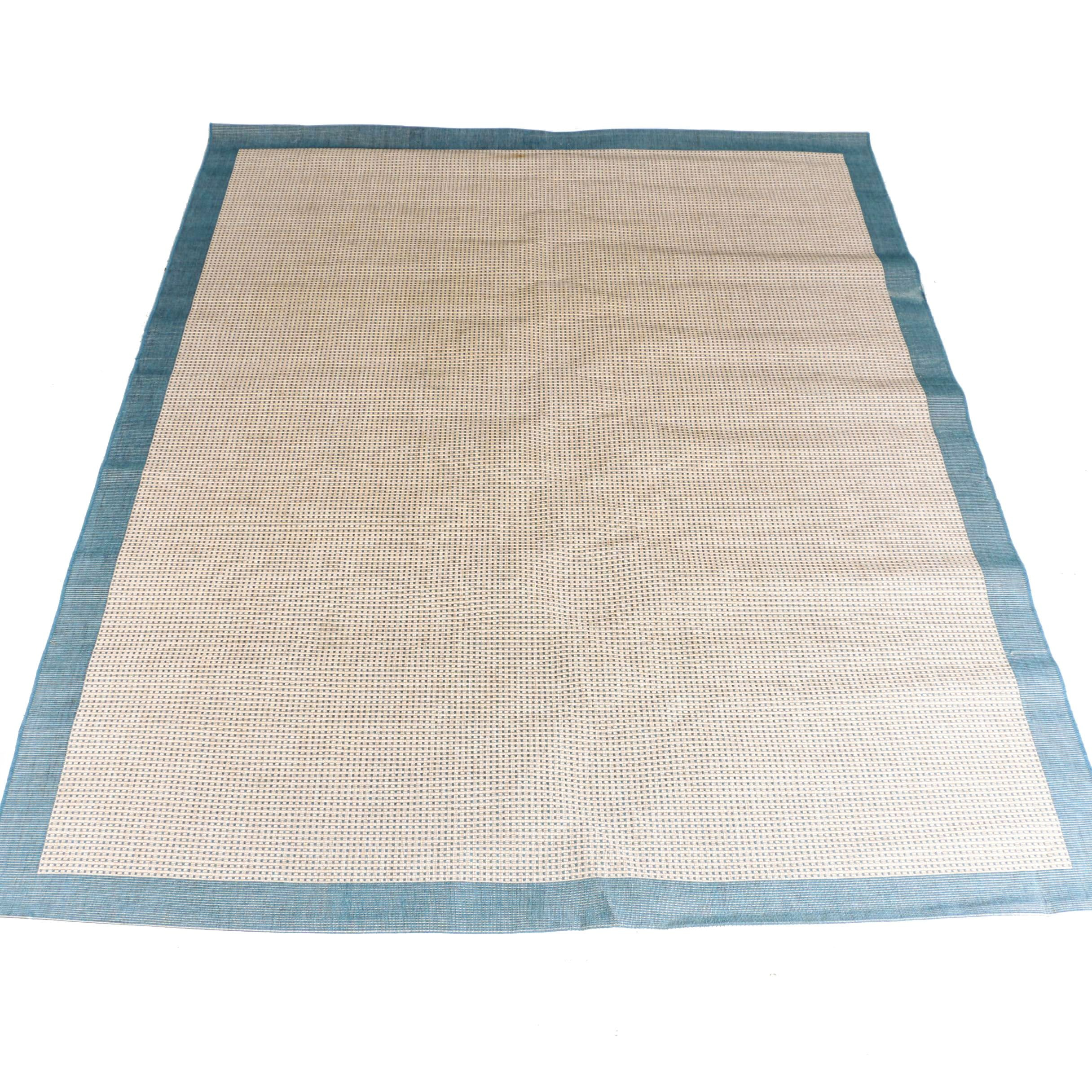 Machine Made Camel and Blue Woven Area Rug
