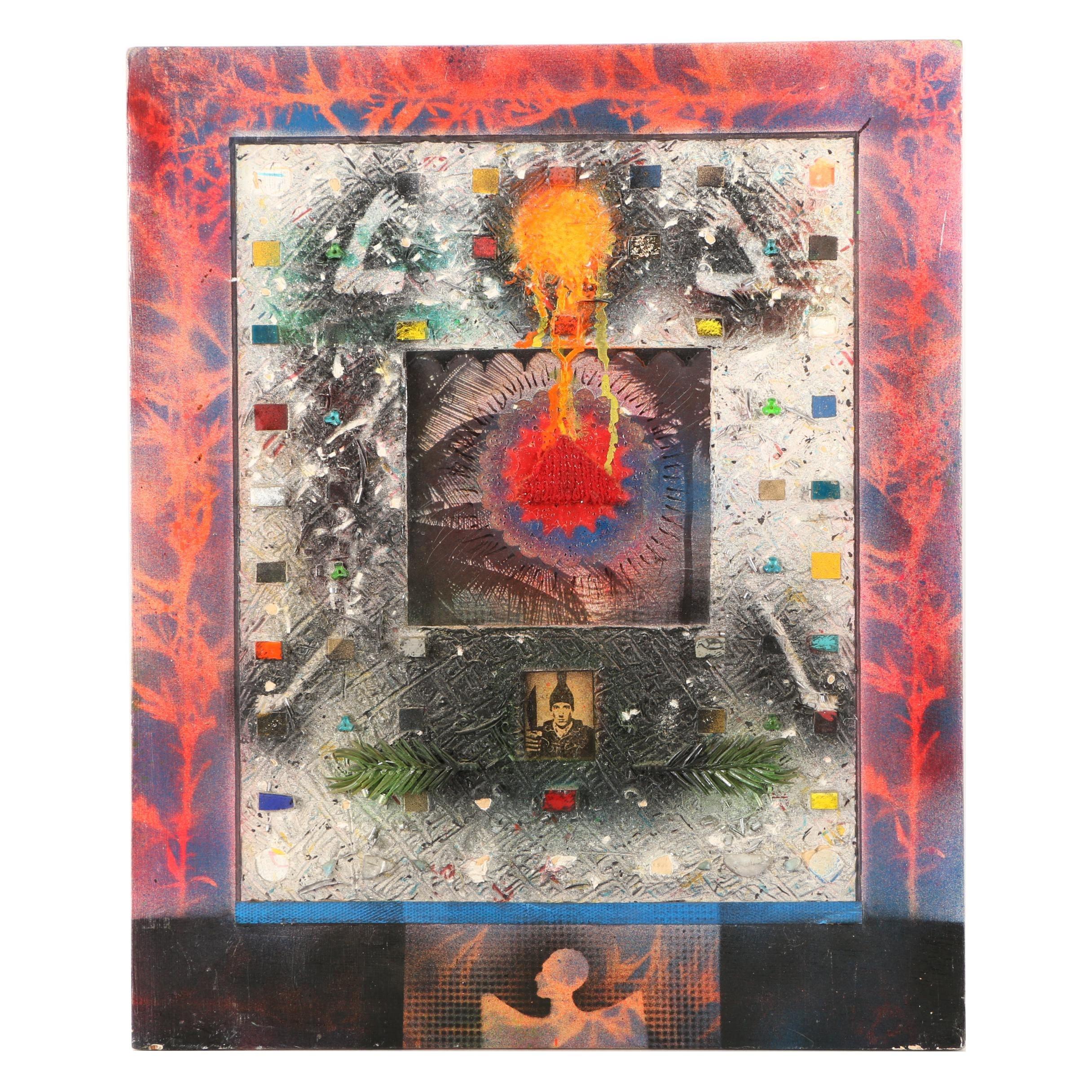 "Frank McCarts Mixed Media Artwork on Wooden Panel ""Modern Icon"""