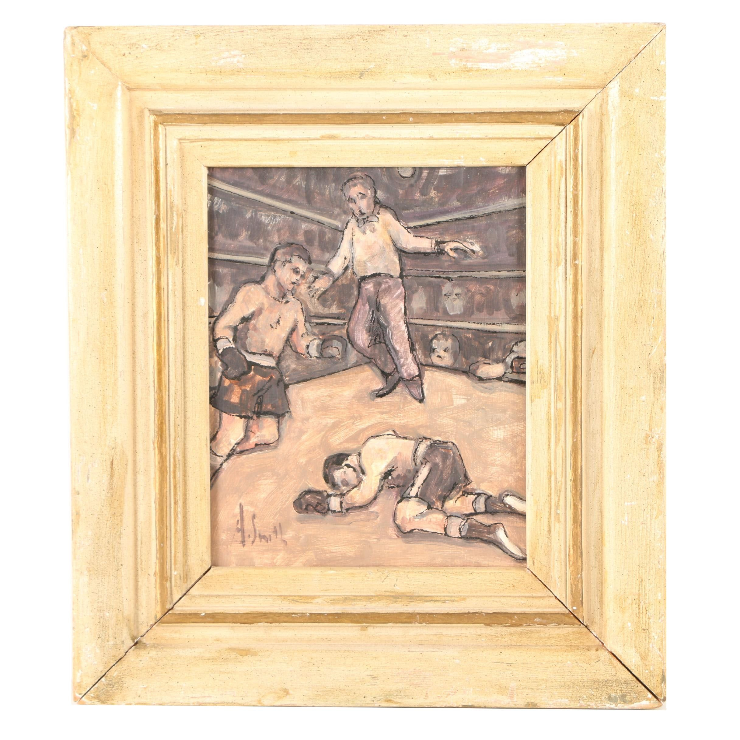 A. Smith Original Oil Painting on Panel of Boxing Match