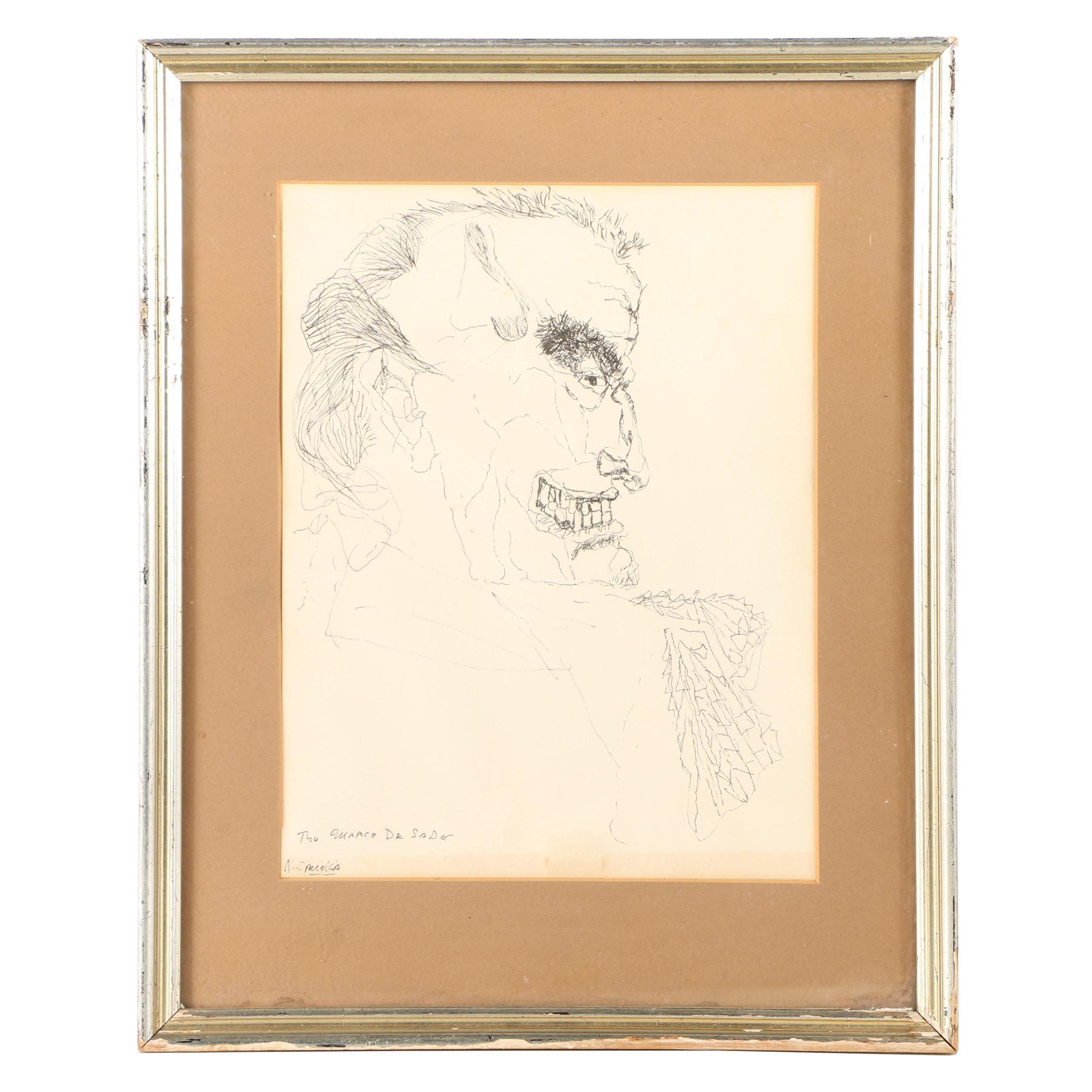 "Nicholas Sperakis Ink Drawing ""The Marce De Sade"""