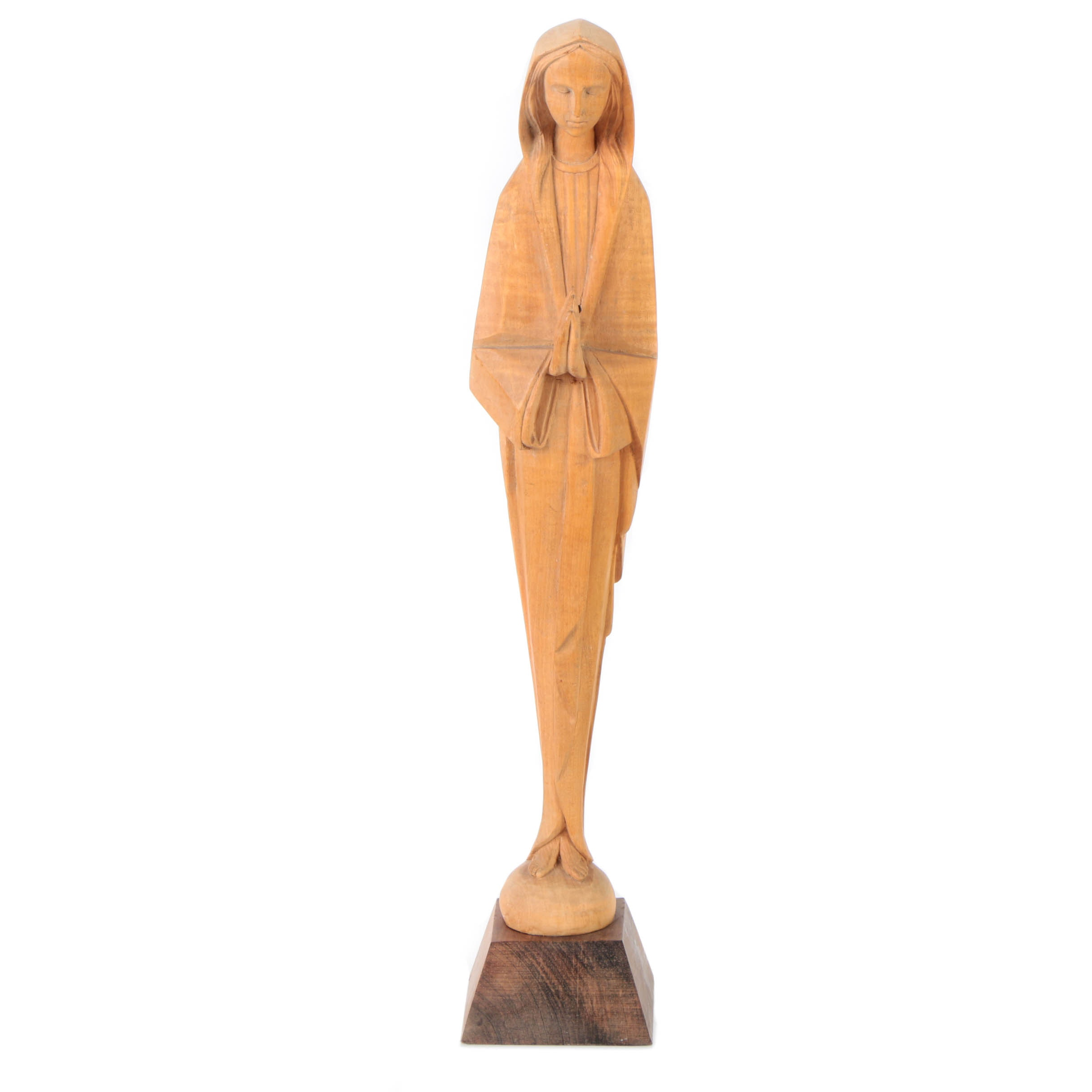 Carved Wood Sculpture of Woman in Prayer