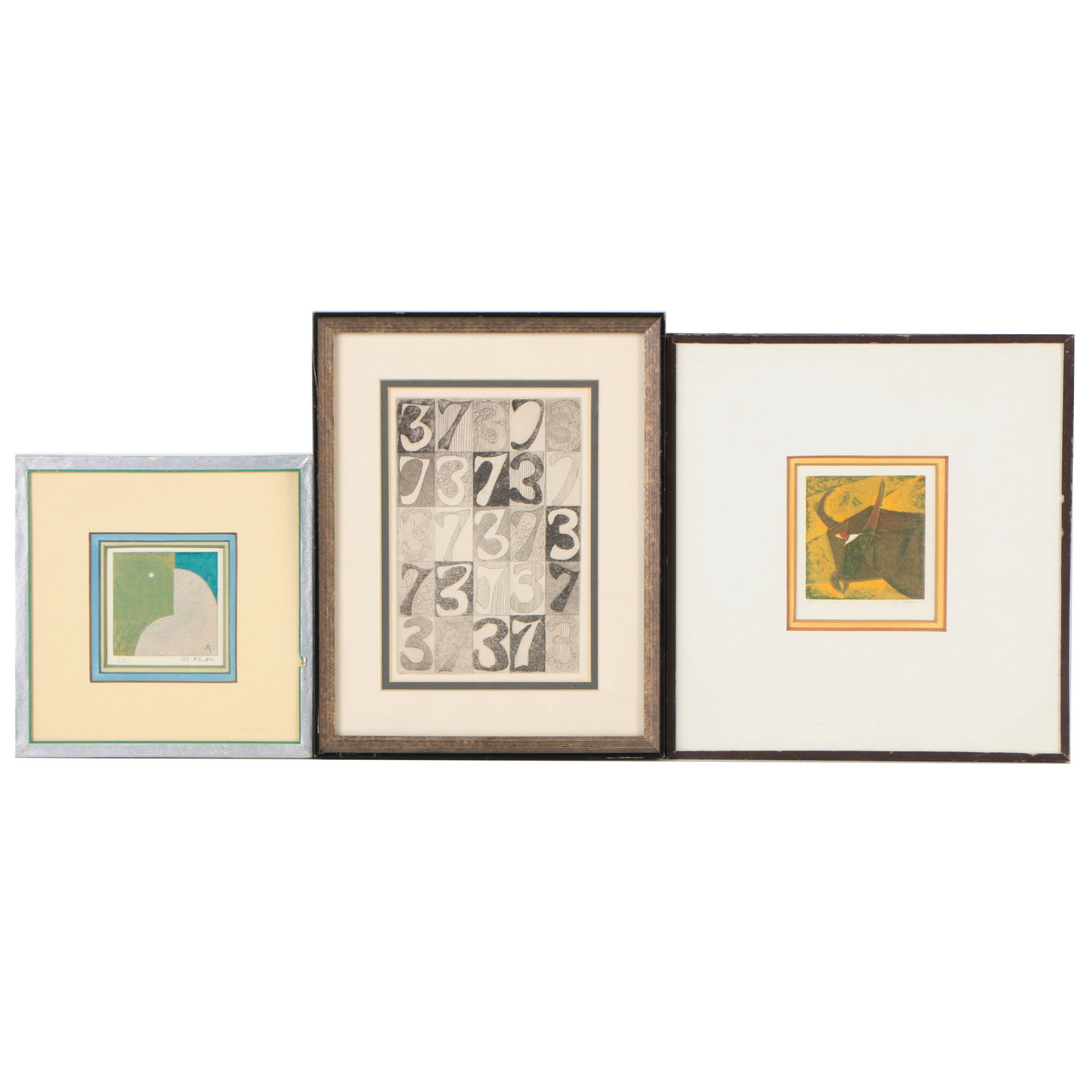 Collection of Two Limited Edition Serigraphs and One Aquatint Etching on Paper