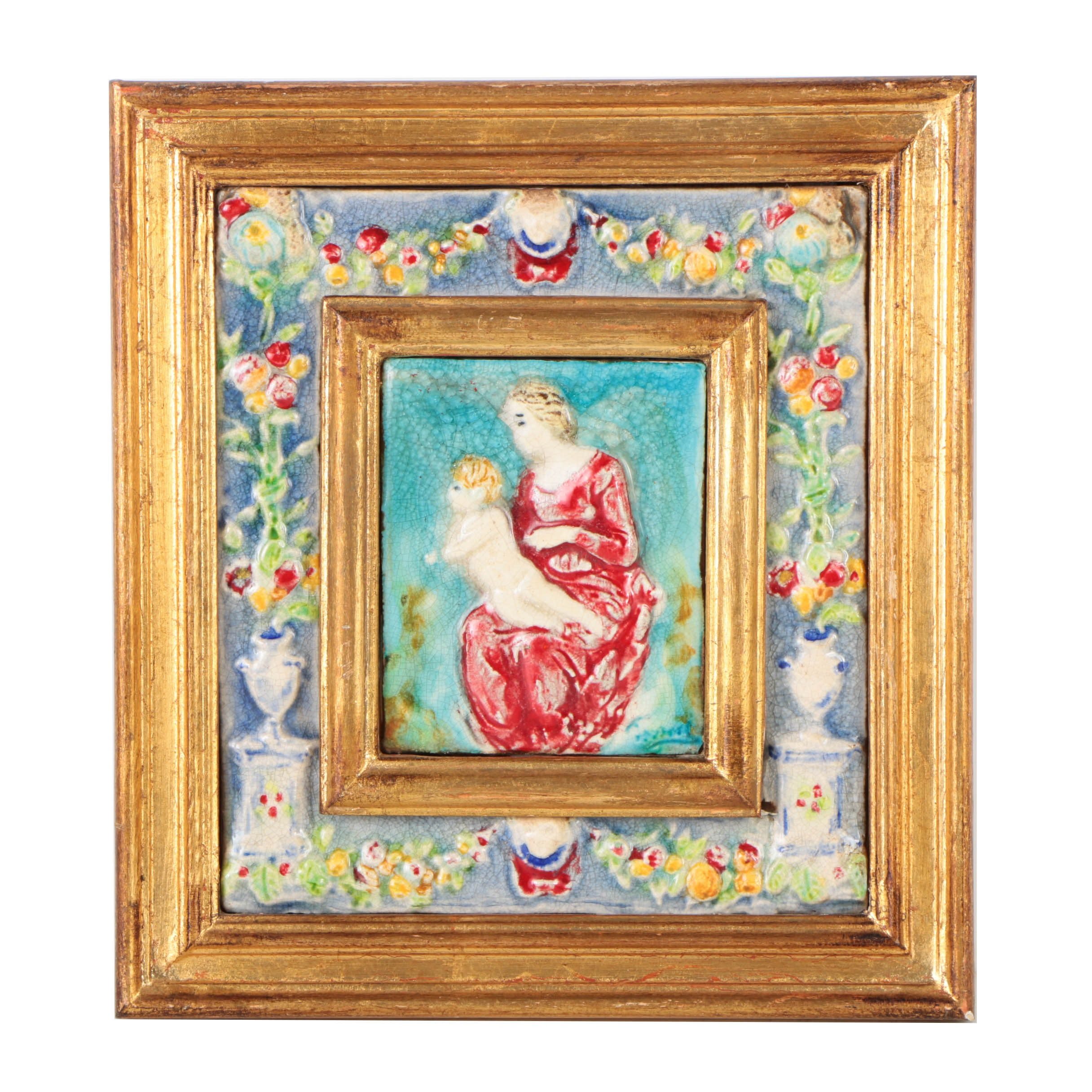 Hand-Painted Framed Italian Ceramic Tile of a Woman and Child
