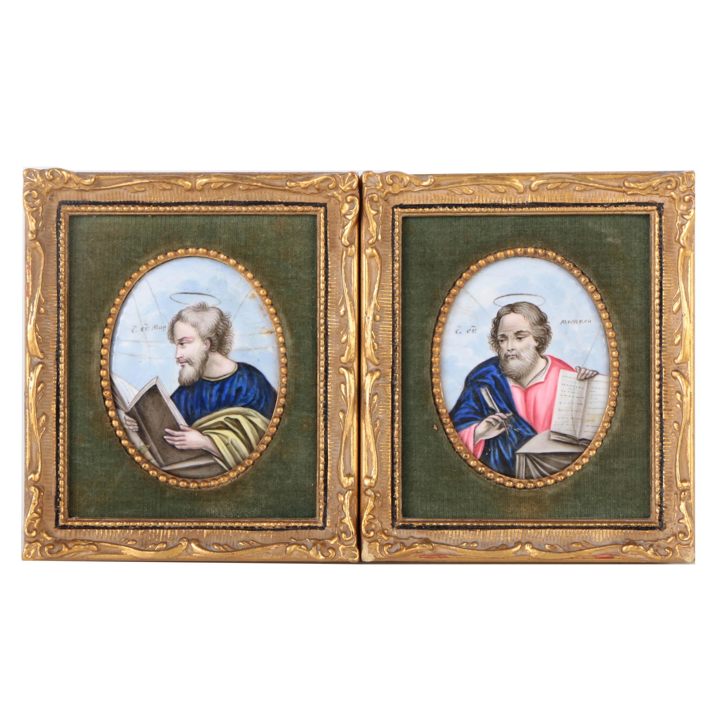 Pair of Enamel Miniature Portraits