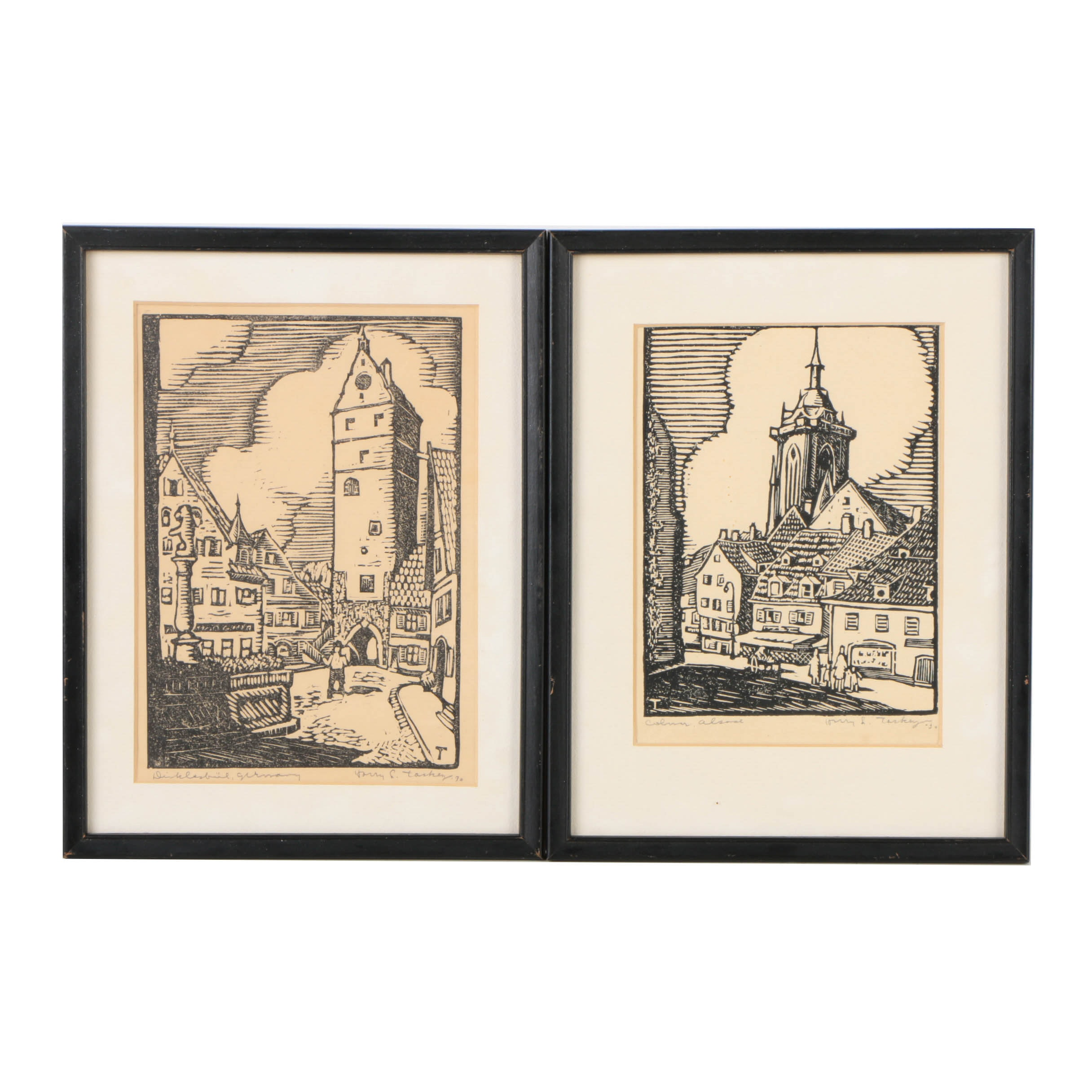 Pair of Harry Taskey Woodcuts on Paper of European Townscapes