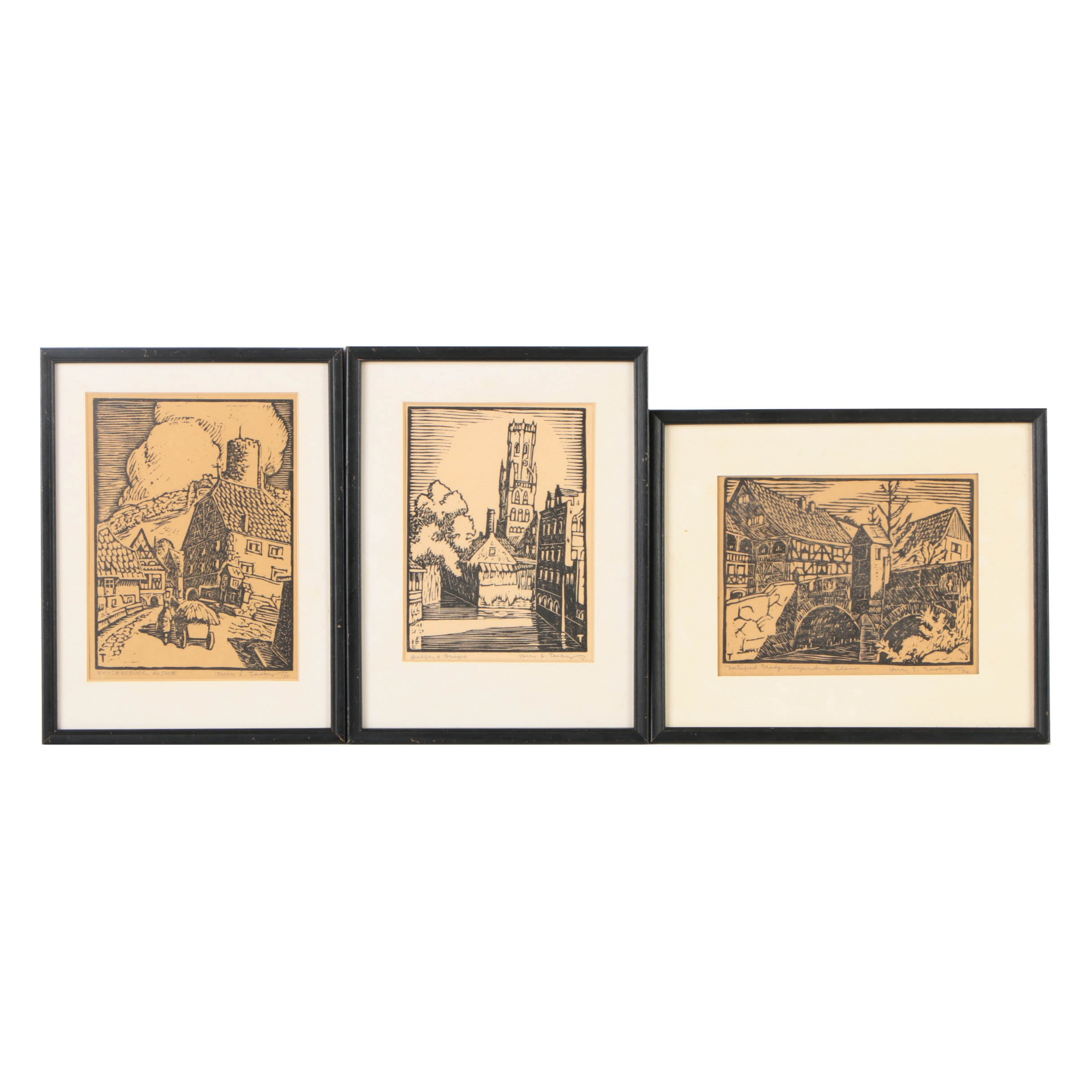 Collection of Harry Taskey Woodcuts on Paper of European Townscapes