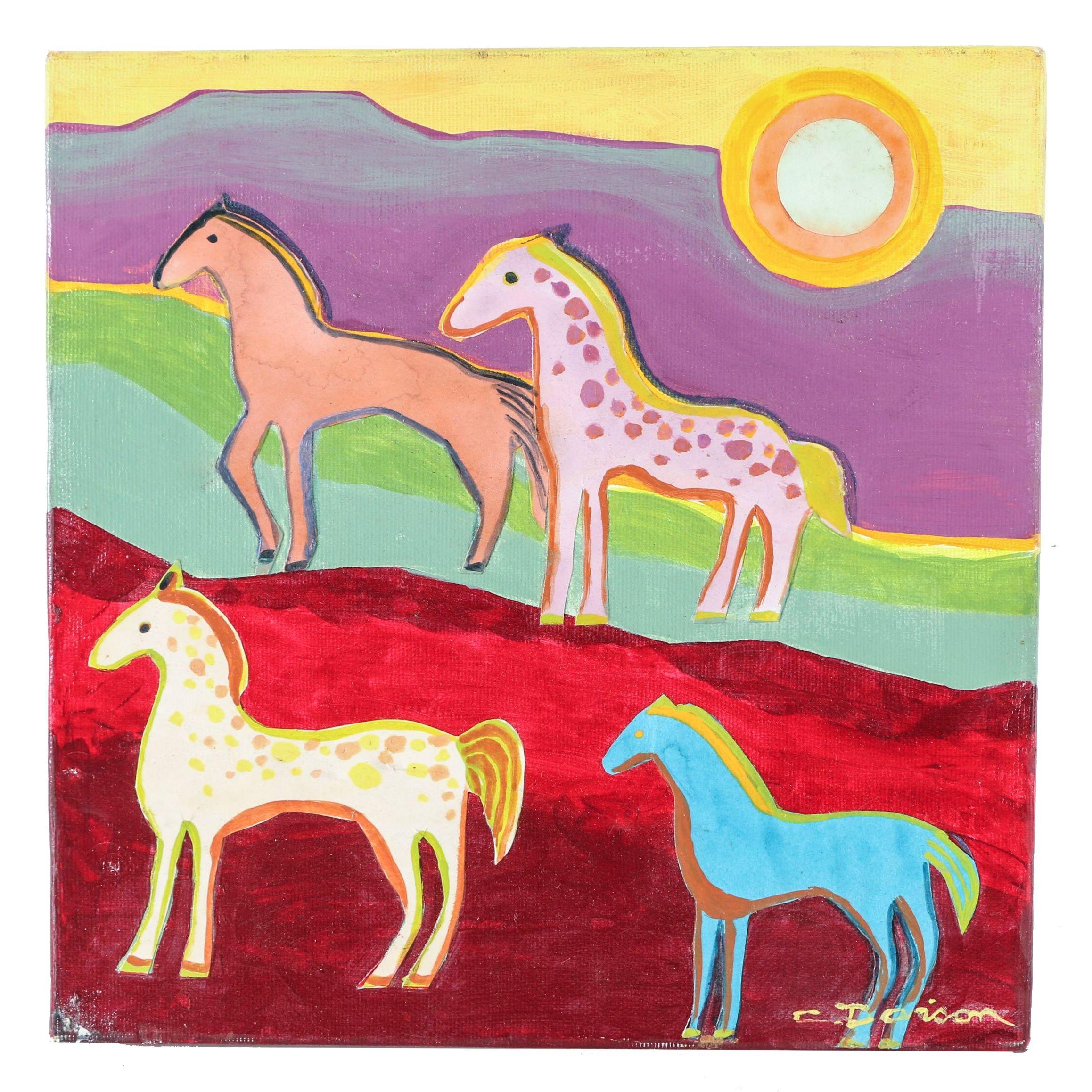"Charles Davison Mixed Media Artwork of Horses ""Mountain Pass II"""