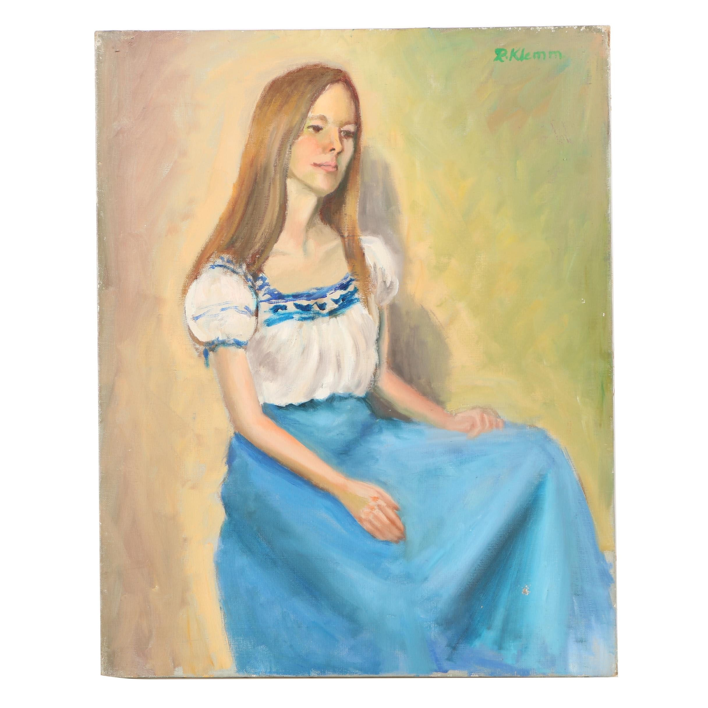 R. Klemm Oil Painting of Young Woman