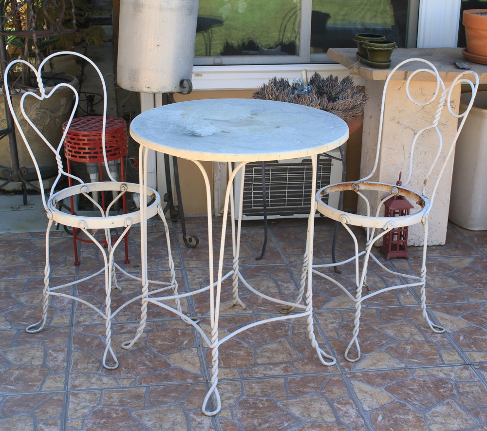 White Ice Cream Outdoor Table and Two Chairs