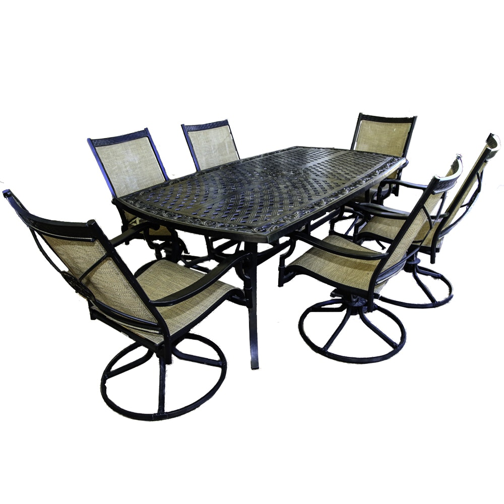 Black Outdoor Metal Table and Six Chairs