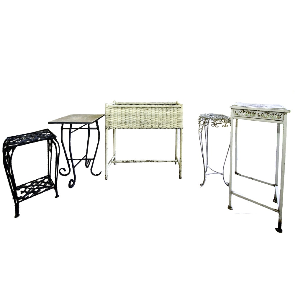 Four Vintage End Tables and One Standing Wicker Basket
