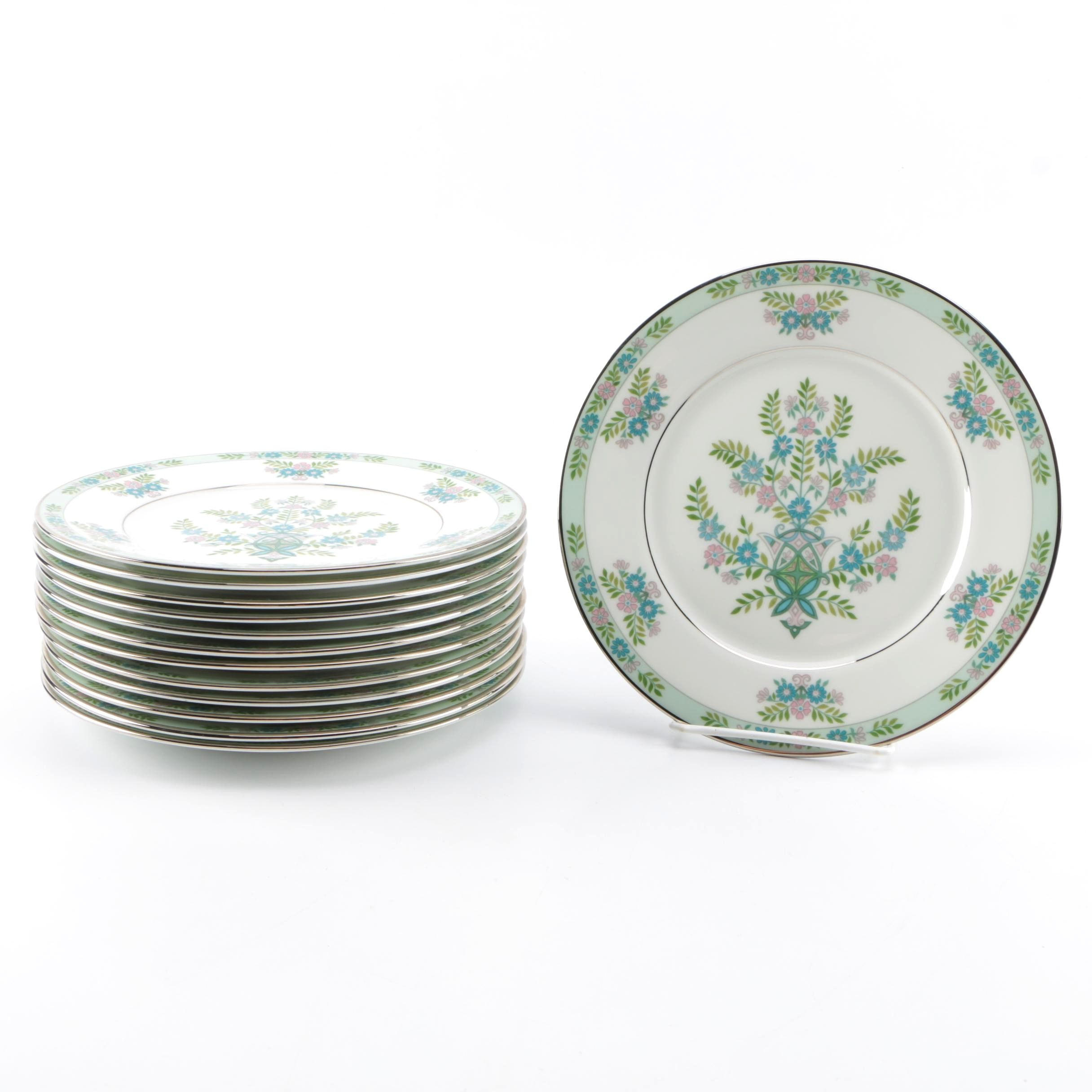 "Oxford ""Willow Tree"" Bone China Salad Plate Set"