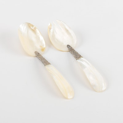Mother of Pearl and Shell Serving Utensils with Silver Tone Accents