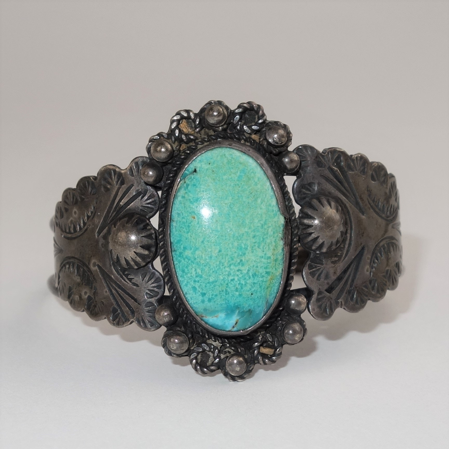 Native American Style Sterling Turquoise Cuff Bracelet