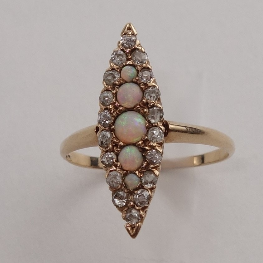 14K Yellow Gold Diamond Opal Ring