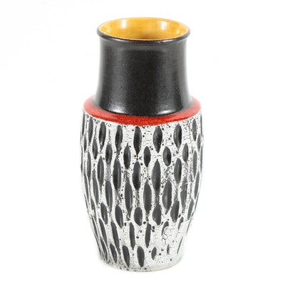 Scheurich Fat Lava Vase with Incised Pattern