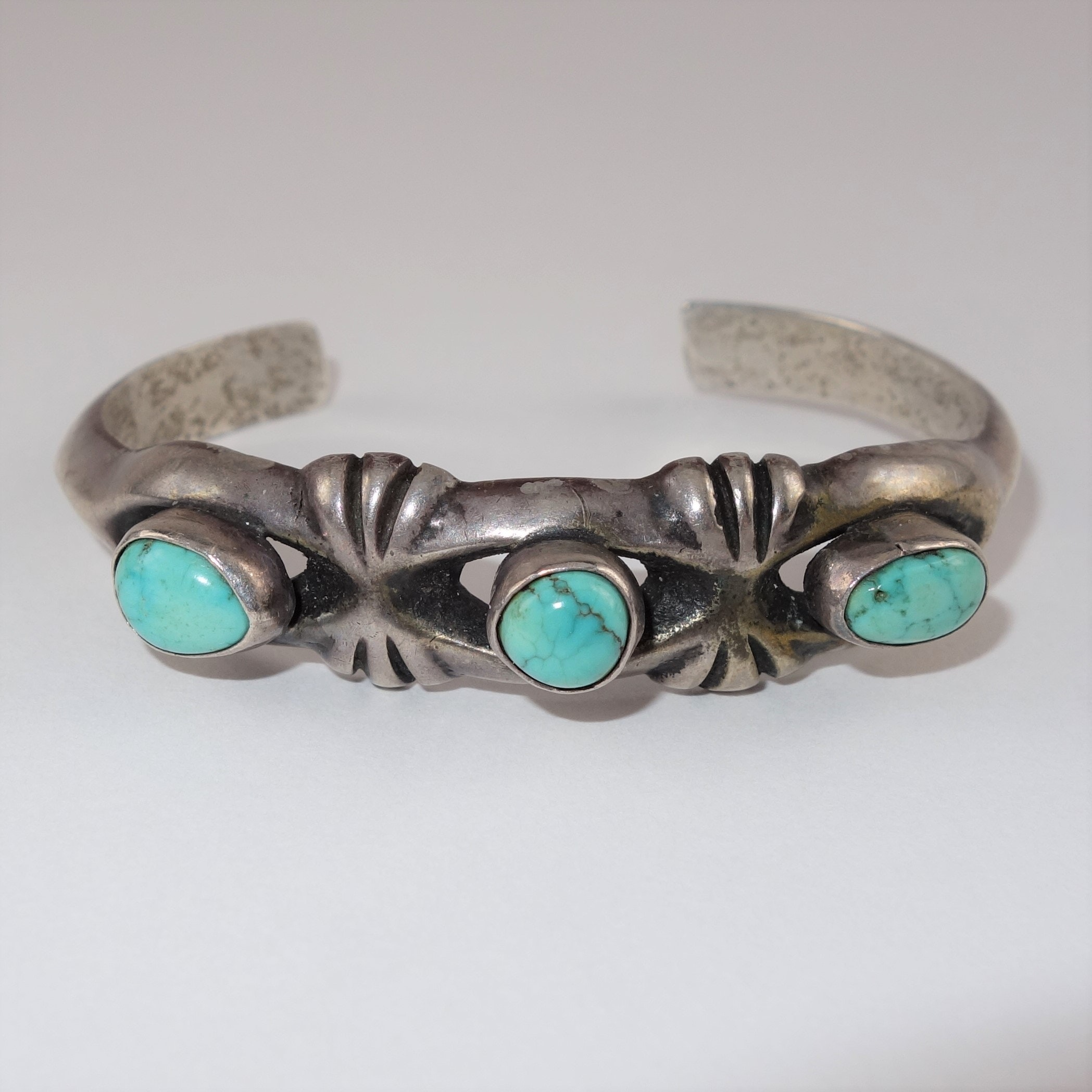 Native American Style Sandcast Sterling Turquoise Cuff Bracelet