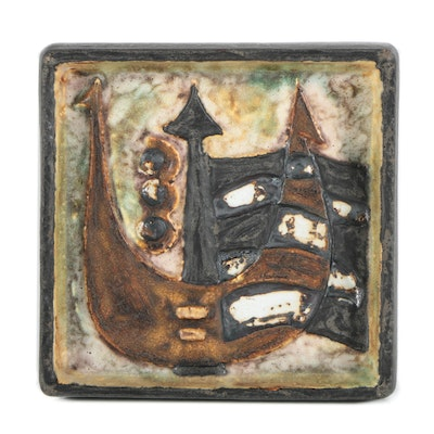 "Helmut Schäffenacker Ceramic Wall Plaque ""Ship"""