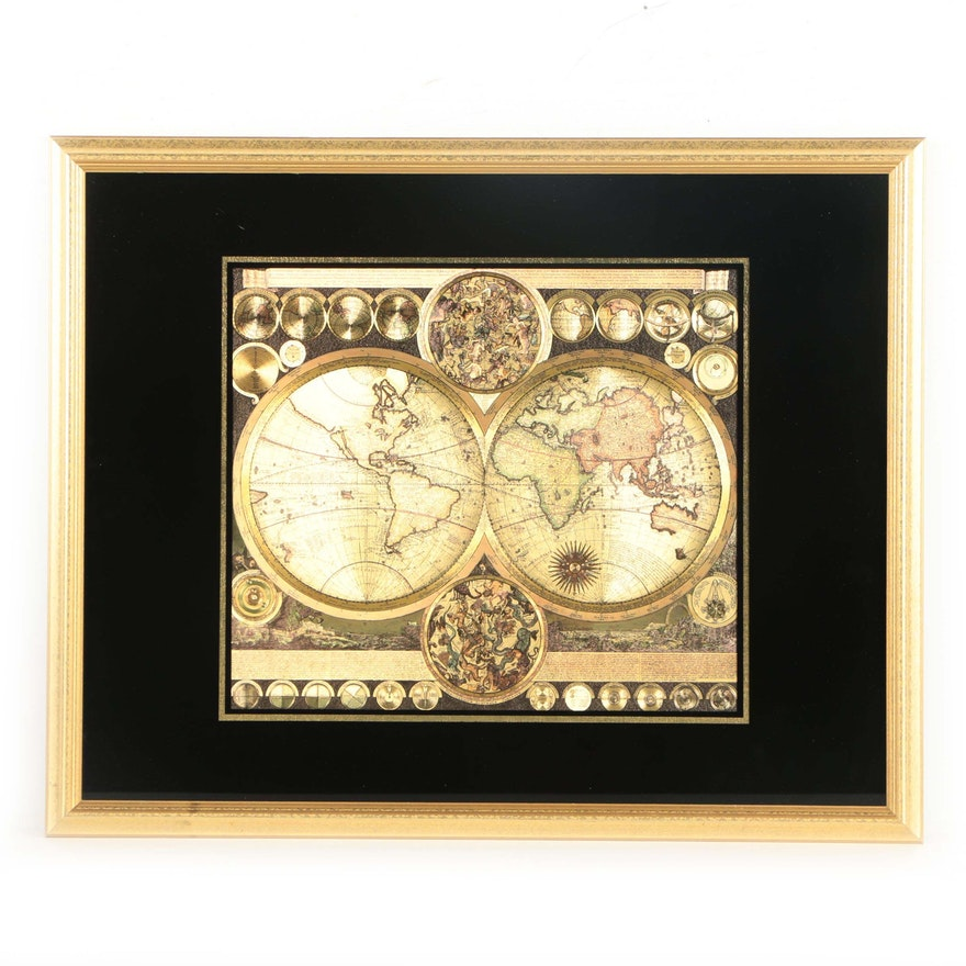Offset Lithograph Antique Style World Map Ebth